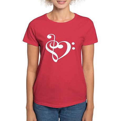 Treble Bass Clef Heart Women's Dark T-Shirt