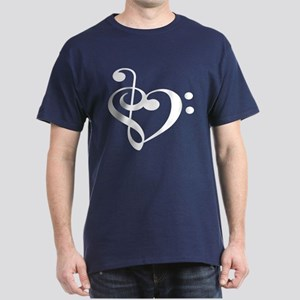 Treble Bass Clef Heart Dark T-Shirt