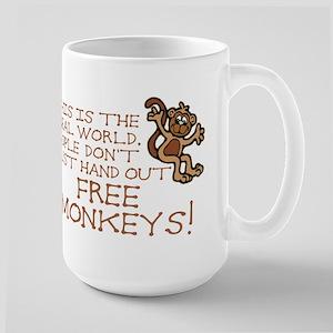 No Free Monkeys Large Mug