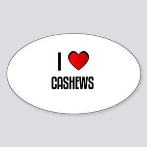 I LOVE CASHEWS Oval Sticker