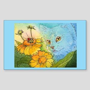 Summer Blue Garden CAT Rectangle Sticker