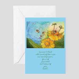 Summer Blue Garden CAT Greeting Card