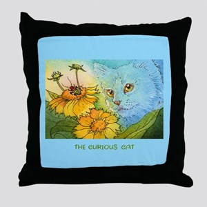 Summer Blue Garden CAT Throw Pillow