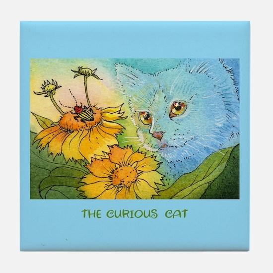 Summer Blue Garden CAT Tile Coaster