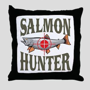 Salmon Hunter Throw Pillow
