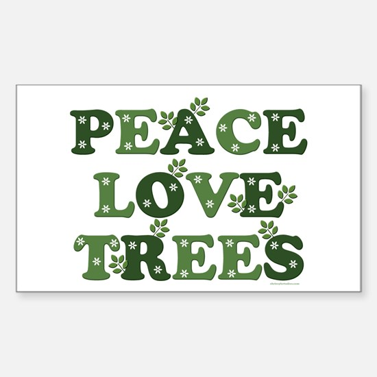 Peace Love Trees Rectangle Decal