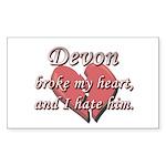 Devon broke my heart and I hate him Sticker (Recta
