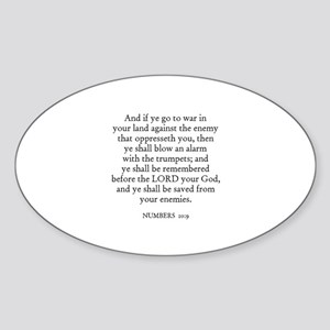 NUMBERS 10:9 Oval Sticker