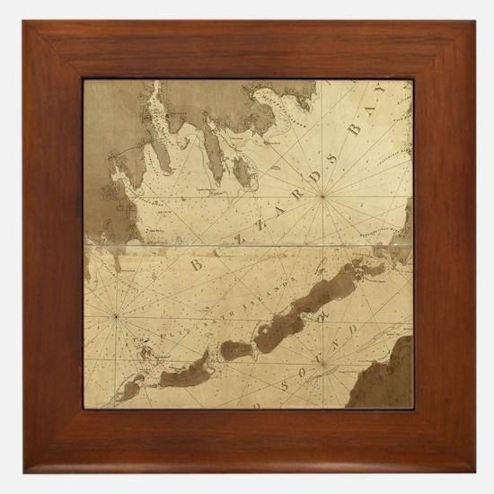 Vintage Map of Buzzards Bay (1776) Framed Tile