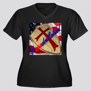 CrusaderPatriot/Shield & Flag Women's Plus Size V-