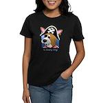 Cartoon Pirate Corgi Women's Dark TShirt