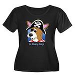 Cartoon Pirate Corgi Women's Plus Size Dark Tee