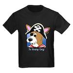 Cartoon Pirate Corgi Kids Dark TShirt