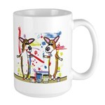 Painting Fun Corgis Large Mug