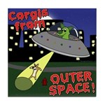 Corgi Alien Abduction Tile Coaster