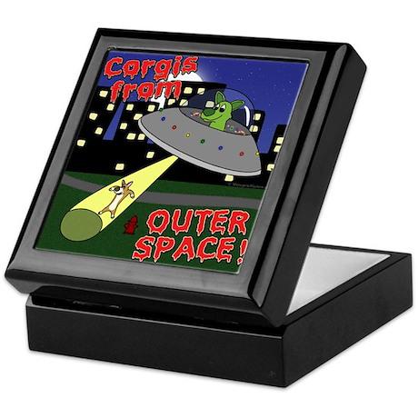 Corgi Alien Abduction Keepsake Box
