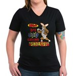 Not So Short Corgi Women's V-Neck Dark T-Shirt