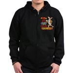 Not So Short Corgi Zip Hoodie (dark)