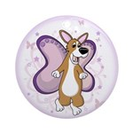Corgi Butterfly Whimsy Ornament (Round)