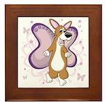 Corgi Butterfly Whimsy Framed Tile
