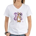 Corgi Butterfly Whimsy Women's V-Neck T-Shirt