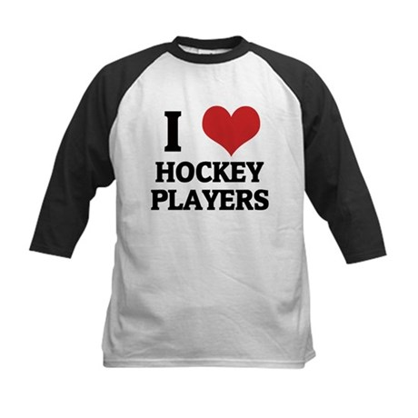 I Love Hockey Players Kids Baseball Jersey