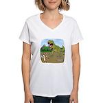 Corgi T-Rex Experience Women's V-Neck T-Shirt