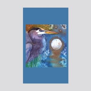 Blue Heron and Bronze Moon Rectangle Sticker