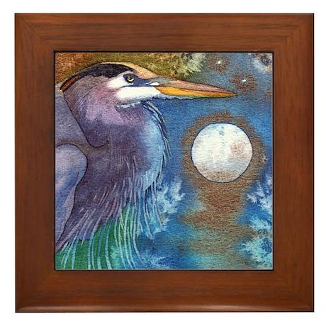 Blue Heron and Bronze Moon Framed Tile