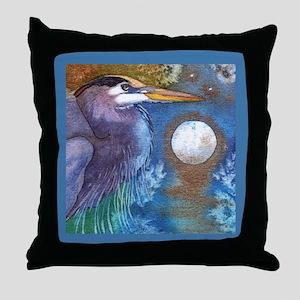 Blue Heron and Bronze Moon Throw Pillow
