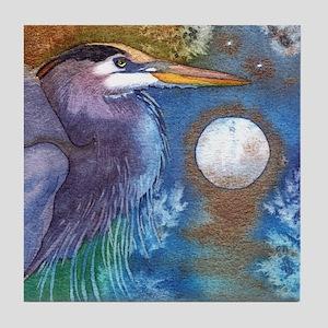 Blue Heron and Bronze Moon Tile Coaster