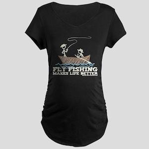 Fly Fishing Life Maternity Dark T-Shirt