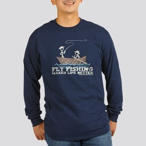 Fly Fishing Life Long Sleeve Dark T-Shirt
