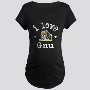 'I Love Gnu' Maternity Dark T-Shirt