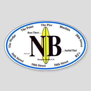 Newport Beach Surf Breaks Oval Sticker