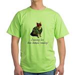 Mardi Gras Cat Green T-Shirt