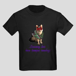 Mardi Gras Cat Kids Dark T-Shirt