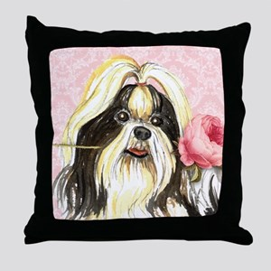 Shih Tzu Rose Throw Pillow