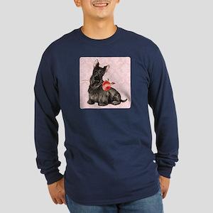 Scottish Terrier Rose Long Sleeve Dark T-Shirt