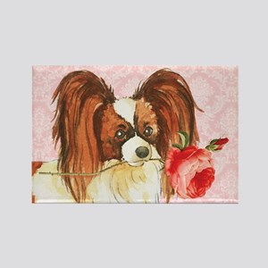 Papillon Rose Rectangle Magnet