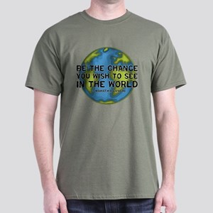 Gandhi - Earth - Change Dark T-Shirt