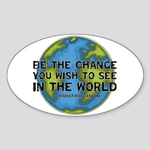 Gandhi - Earth - Change Oval Sticker
