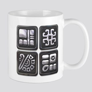 Mayan Glyphs-black & silver Mug