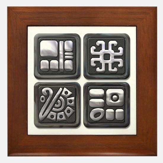 Mayan Glyphs-black & silver Framed Tile