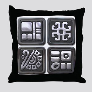 Mayan Glyphs-black & silver Throw Pillow