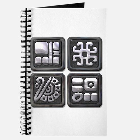 Mayan Glyphs-black & silver Journal