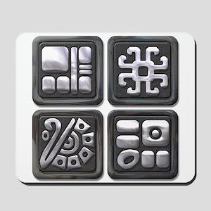 Mayan Glyphs-black & silver Mousepad