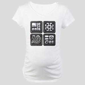 Mayan Glyphs-black & silver Maternity T-Shirt