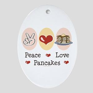 Peace Love Pancakes Oval Ornament