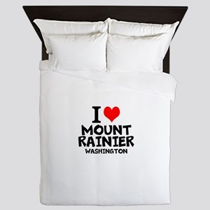 I Love Mount Rainier, Washington Queen Duvet